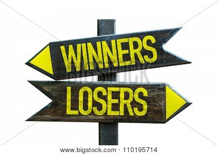 Winners - Losers signpost isolated on white background