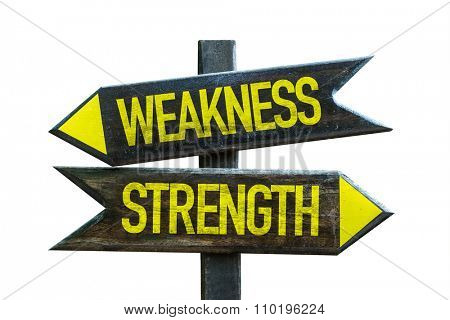 Weakness - Strength signpost isolated on white background