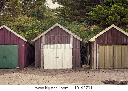 Boat Sheds On The Beach