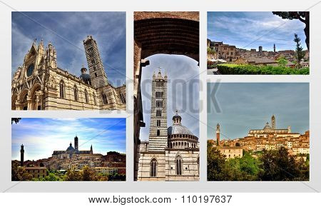 Touristic destination in Tuscany, Siena, photo collage