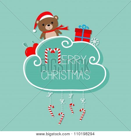 Baby Bear In Santa Hat, Giftbox, Snowflake, Ball. Merry Christmas Card. Hanging Candy Cane. Dash Lin