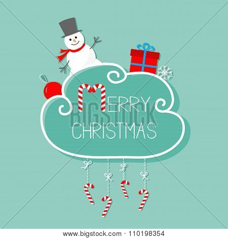 Snowman, Giftbox, Snowflake, Ball. Merry Christmas Card. Hanging Candy Cane. Dash Line With Bow. Fla