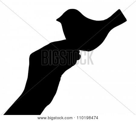 Silhouettes of hand with decorative bird, isolated on white