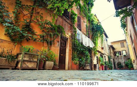 Roman street. Italy. old streets in Rome