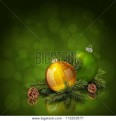 Gold and green Christmas balls with fir tree branch on green bokeh background. Xmas greeting card. Vector eps10 illustration
