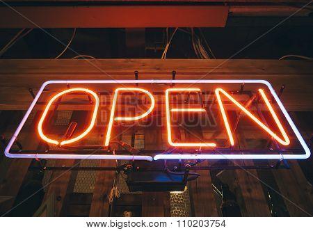 Open Sign Neon Light Bar Restaurant Shop