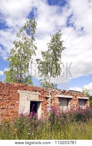 Desolate Roofless And Windowless Brick House Ruins