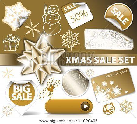 Set Of Christmas Golden Discount Tickets