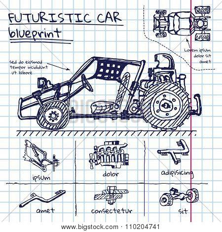 Vector doodle futuristic car scheme in exercise book