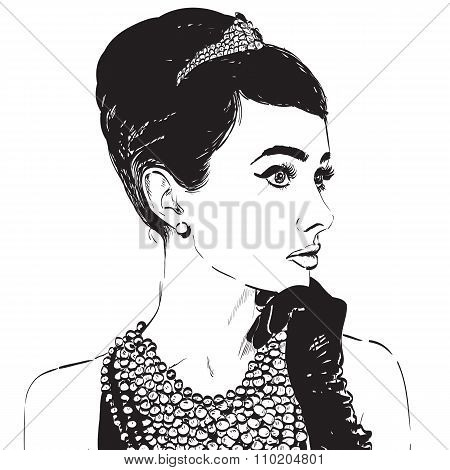 Beautiful retro woman, vector. Copy space. In little black dress with a gloves.