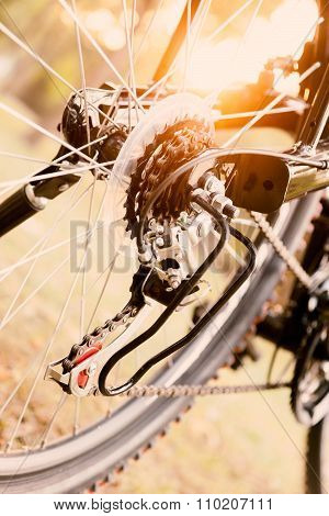 Close up of a Bicycle wheel with details.
