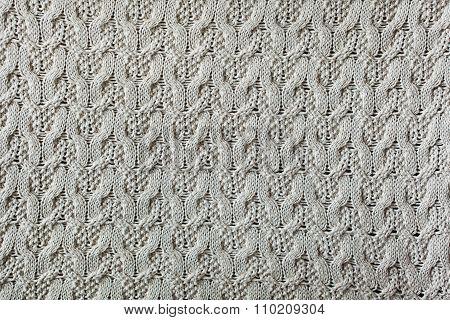 Knitted Woolen Background, Beige Texture