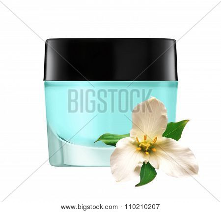 Glass Jar Of Face Cream And White Lilly Flower Isolated On White