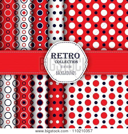 Collection of seamless patterns with polka dot