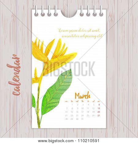 2016 Cute romantic Calendar with vintage flowers. Vector illustration.