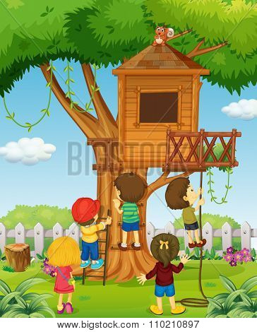 Children playing on the treehouse illustration
