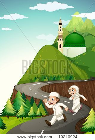 Muslim couple running down the road illustration