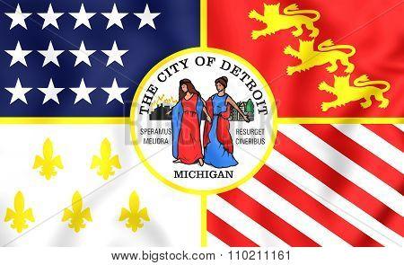 Flag Of Detroit (michigan), Usa.