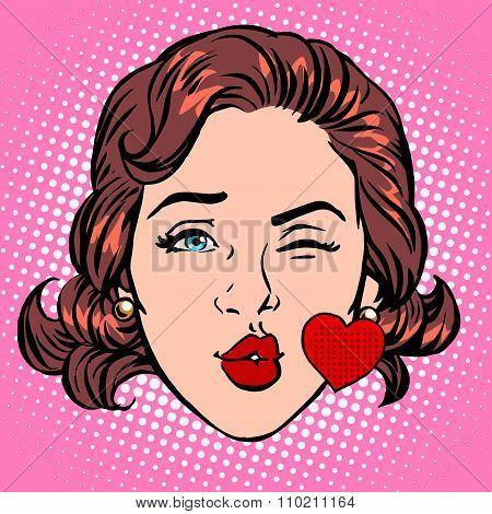 Retro Emoji love kiss heart woman face