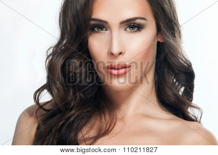 young brunette green eyes woman beauty portrait, studio shot
