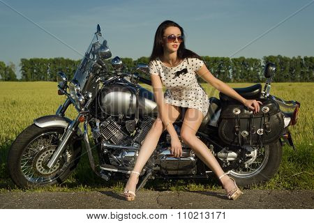 Sexy  Woman On Motorcycle