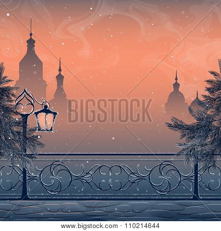 Winter landscape with cityscape lantern bridge and snow-covered spruces