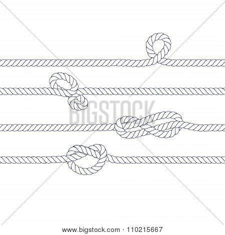 White Rope And Marine Knots Seamless Horizontal Banner