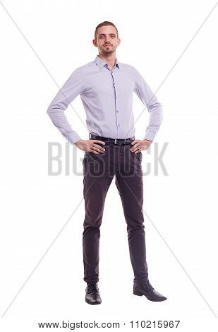 The Whole Figure Of A Man In A Shirt On White Background