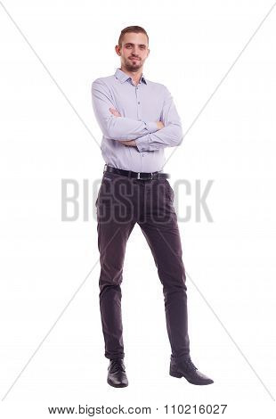 The Whole Figure Of A Man In Shirt With Crossed Arms