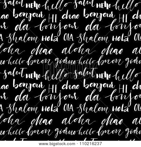 Seamless Pattern With International Words.