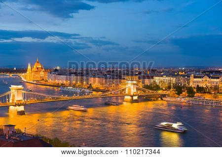 Budapest City In A Spring Evening