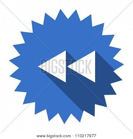 rewind blue flat icon