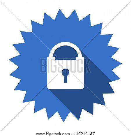 padlock blue flat icon