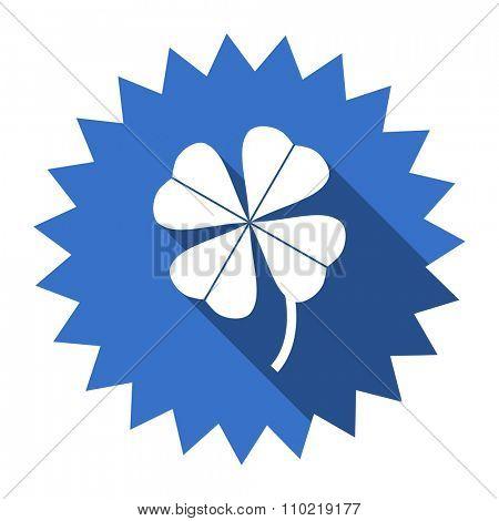 four-leaf clover blue flat icon