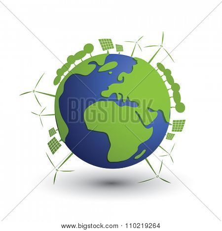 Think Green. Green Electricity. Eco Friendly Ideas - Earth Globe Concept Design