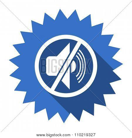 mute blue flat icon