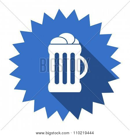 beer blue flat icon