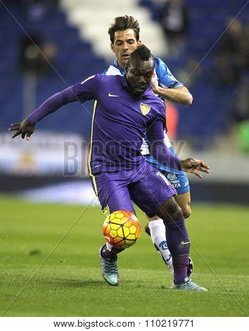 BARCELONA - NOV, 21: Arthur Boka of Malaga CF during a Spanish League match against RCD Espanyol at the Power8 stadium on November 21 2015 in Barcelona Spain