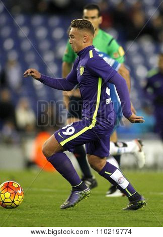 BARCELONA - NOV, 21: Javier Ontiveros of Malaga CF during a Spanish League match against RCD Espanyol at the Power8 stadium on November 21 2015 in Barcelona Spain