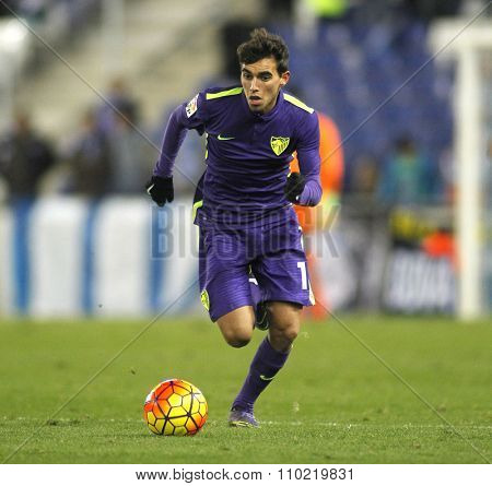 BARCELONA - NOV, 21: Ricardo Horta of Malaga CF during a Spanish League match against RCD Espanyol at the Power8 stadium on November 21 2015 in Barcelona Spain