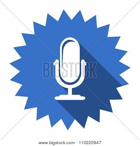 microphone blue flat icon