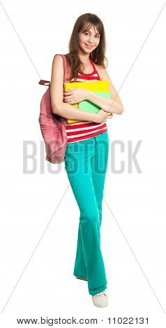 Schoolgirl With Books And Backpack