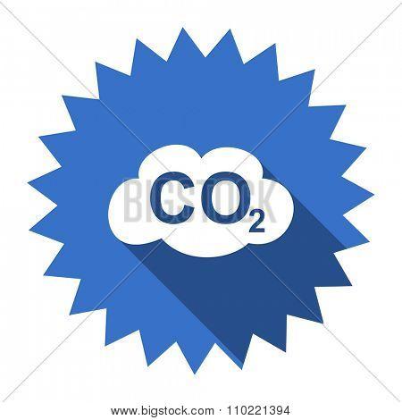 carbon dioxide blue flat icon