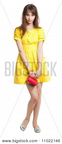 Girl In Yellow With Red Purse