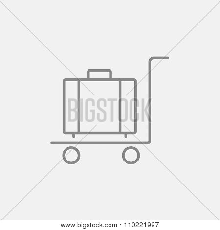 Luggage on a trolley line icon for web, mobile and infographics. Vector dark grey icon isolated on light grey background.