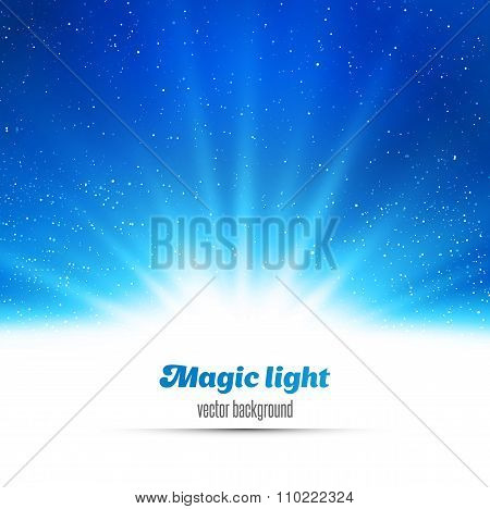 Blue holiday burst abstract magic light background