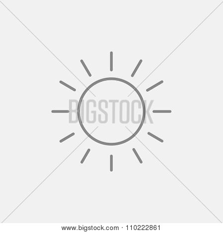 Sun line icon for web, mobile and infographics. Vector dark grey icon isolated on light grey background.