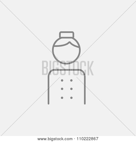Bellboy line icon for web, mobile and infographics. Vector dark grey icon isolated on light grey background.