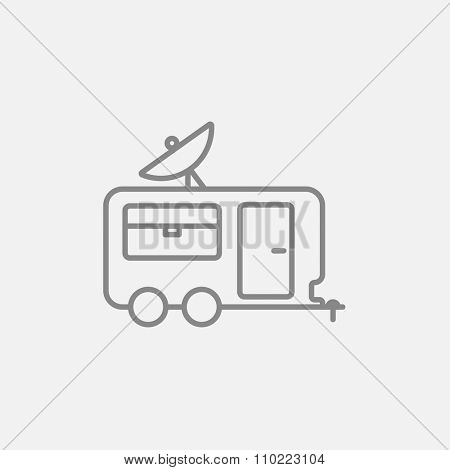 Caravan with satellite dish line icon for web, mobile and infographics. Vector dark grey icon isolated on light grey background.