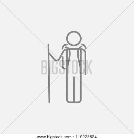 Tourist backpacker line icon for web, mobile and infographics. Vector dark grey icon isolated on light grey background.